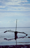 Kenya - Kikambala: trimaran near the beach - reflection - Indian Ocean - photo by F.Rigaud