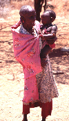 Africa - Kenya - Olorgesailie - blind Masai with toddler - Maasai people - photo by F.Rigaud