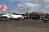 Nairobi, Kenya: Jomo Kenyatta International Airport - terminal, air side - Kenya Airways Boeing 767-38E 5Y-KQP - aircraft - photo by M.Torres
