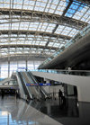 Incheon, South Korea: Incheon International Airport - ICN - interior of the Transportation Center - escalators and trusses - photo by M.Torres