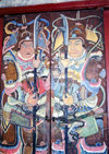 Asia - South Korea - Suweon, Gyeonggi-do province: painted shutters - Korean warriors - photo by S.Lapides