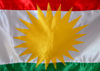 Erbil / Hewler, Kurdistan, Iraq: flag of Kurdistan - Kurdish sun, detail of the Zoroastrian inspired sun disk and red, white and green stripes - photo by M.Torres