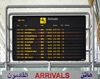 Erbil / Hewler, Kurdistan, Iraq: Erbil International Airport - arrivals board at the terminal building - flights to Europa and the Middle East - run by the Kurdistan Regional Government - Flight information board - photo by M.Torres