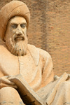 Erbil / Hewler / Arbil / Irbil, Kurdistan, Iraq: close-up of the statue of the historian Ibn Al-Mustawfi aka Mubarak Ben Ahmed Sharaf-Aldin at the entrance to Erbil Citadel - minister of Erbil in the era of Sultan Muzafardin - Qelay Hewlêr - UNESCO world heritage site - photo by M.Torres