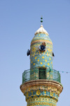 Erbil / Hewler, Kurdistan, Iraq: Erbil Citadel - Mulla Afandi Mosque - minaret with intricate tile decoration -  located at the main road crossing the center of the Citadel from South to North - Qelay Hewlêr - UNESCO world heritage site - photo by M.Torres