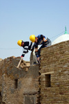 Erbil / Hewler, Kurdistan, Iraq: Erbil Citadel - construction workers prepare restoration work - Qelay Hewlêr - UNESCO world heritage site - photo by M.Torres