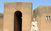 Erbil / Hewler / Arbil / Irbil, Kurdistan, Iraq: entrance to Erbil Citadel -  main gate with the statue of the historian Ibn Al-Mustawfi aka Mubarak Ben Ahmed Sharaf-Aldin (14th century) - minister of Erbil in the era of Sultan Muzafardin - Qelay Hewlêr - UNESCO world heritage site - photo by M.Torres