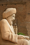 Erbil / Hewler / Arbil / Irbil, Kurdistan, Iraq: profile view of the statue of the historian Ibn Al-Mustawfi aka Mubarak Ben Ahmed Sharaf-Aldin at the entrance to Arbil Citadel - minister of Erbil in the era of Sultan Muzafardin - Qelay Hewlêr - UNESCO world heritage site - photo by M.Torres