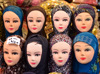 Erbil / Hewler / Arbil / Irbil, Kurdistan, Iraq: Qaysari bazaar - hijabs for sale --mannequins wearing a variety of Muslim headscarves - photo by M.Torres