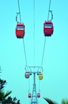 Erbil / Hewler, Kurdistan, Iraq: Shanadar Park - cable car seen from below, the Erbil Teleferique - photo by M.Torres