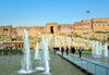 Erbil / Hewler, Kurdistan, Iraq: the fountains of Shar Park, Erbil's main square, built under the Erbil Citadel - Qelay Hewlêr - UNESCO world heritage site - photo by M.Torres