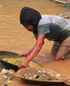 Laos, Si Phan Don region (4000 islands region): looking for gold in the river - gold panning - photo by E.Petitalot