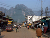 Laos - Vang Veing: the city and the mountains - karst hill landscape - photo by P.Artus