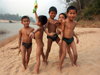 Laos - Muang Noi: kids playing on the beach - photo by P.Artus