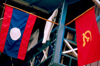 Laos - Lao and Communist Flags (photo by K.Strobel)