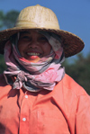 Laos: peasant woman - bamboo hat and scarf for sun protection - photo by E.Petitalot