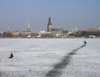Latvia / Latvija - Riga: frozen Daugava - path on the ice - Vecriga on the background - photo by A.Dnieprowsky