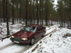 Latvia - Kurzeme - Ventspills Rajon: driving in the snow - car - Volvo - country road - Baltic winter - photo by A.Dnieprowsky