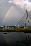 Latvia / Latvija - Riga / RIX : rainbow - Daugava river and Vansu bridge from Pardaugava - varaviksne (photo by Alex Dnieprowsky)