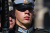 Latvia / Latvija - Riga: Liberty monument - soldier close up (photo by Alex Dnieprowsky)