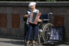 Latvia / Latvija - Riga: accordion player - musician - handicaped - wheelchair (photo by Alex Dnieprowsky)