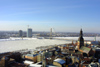 Latvia / Latvija - Riga: both banks - almost from the air - Winter - frozen river - view from St Peter's church - photo by A.Dnieprowsky