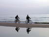 Latvia - Ventspils: cycling along the beach - bike - Bicycles - reflection - Baltic Sea (photo by A.Dnieprowsky)