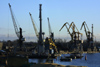 Latvia - Ventspils: cranes in the harbour (photo by A.Dnieprowsky)