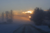 Latvia - Ventspils: sunset in the mist - airport road in November (photo by A.Dnieprowsky)