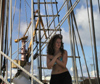 Latvia - Ventspils: girl feeling cold on a siling ship (photo by A.Dnieprowsky)