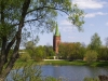 Latvia - Kuldiga / Goldingen (Kurzeme province): church and river Venta (Kuldigas Rajons) (photo by A.Dnieprowsky)