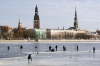 Latvia / Latvija / Lettland - Riga: frozen Daugava - fishermen and church spires (photo by Alex Dnieprowsky)