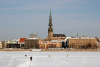 Latvia / Latvija / Lettland - Riga: frozen Daugava - crossing the river near Riga Technical University - Cathedral in the background - walking on the ice (photo by Alex Dnieprowsky)