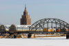 Latvia / Latvija / Lettland - Riga: frozen Daugava - rail bridge, market and palace of culture - photo by Alex Dnieprowsky