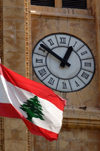 Lebanon / Liban - Beirut: clock and Lebanese flag (photo by J.Wreford)