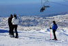 Lebanon, Faraya Mzaar: skiers and chairlift - views to the Mediteranean - photo by J.Pemberton