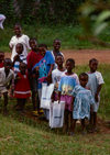 Grand Bassa County, Liberia, West Africa: happy kids after getting gifts from UNICEF - photo by M.Sturges