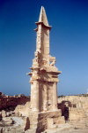 Libya - Sabratha: Punic obelisk - Puno-Hellnistic Mausoleum of Bes (photo by M.Torres)