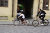 Lithuania - Vilnius: cyclists - streets of Uzupis-Bohemian area of Vilnius - photo by Sandia
