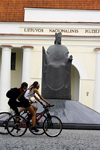 Lithuania - Vilnius: Lithuanian national museum - cyclists and Mindaugas, first Grand Duke of Lithuania - photo by Sandia