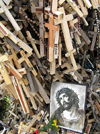 Lithuania / Litva - Siauliai: Hill of crosses - Kry�iu Kalnas - crosses and Jesus protrait - photo by J.Kaman