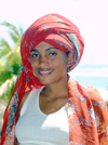 Nosy Be, Madagascar: beautiful Malgasy young woman in traditional headscarf - photo by R.Eime