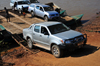 Tsimafana, Belo sur Tsiribihina district, Menabe Region, Toliara Province, Madagascar: vehicles leave the ferry - 4WD Toyota pickup truck- photo by M.Torres
