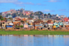 Antananarivo / Tananarive / Tana - Analamanga region, Madagascar: Lac Masay, shanty town and palaces on Iarivo hill - Rocade du Marais Masay - photo by M.Torres