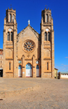 Antananarivo / Tananarive / Tana - Analamanga region, Madagascar: Gothic fa�ade of Andohalo cathedral - Cath�drale de l�Immacul�e Conception d�Andohalo - photo by M.Torres