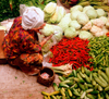 Central market - cabages, peppers and cocumbers, Kota Baru, Kelantan, Malaysia. photo by B.Lendrum