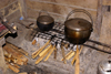 Skandis, Lubok Antu District, Sarawak, Borneo, Malaysia: primitive kitchen, inside the Iban longhouse - photo by A.Ferrari