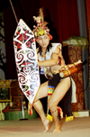 Malaysia - Sarawak (Borneo): Sarawak Cultural Village: Iban warrior performs traditional dance (photo by Rod Eime)