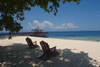 Sipadan Island, Sabah, Borneo, Malaysia: beach chairs on tropical beach near the jetty - photo by S.Egeberg