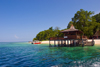 Sipadan Island, Sabah, Borneo, Malaysia: the jetty on Sipadan Island - from the sea - photo by S.Egeberg
